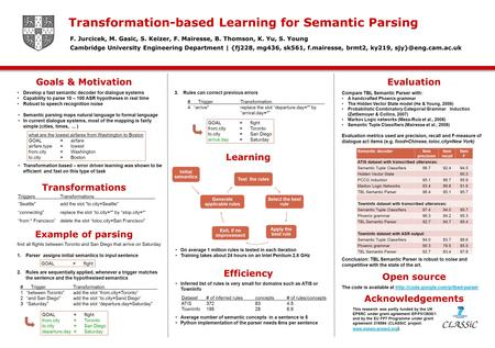 Develop a fast semantic decoder for dialogue systems Capability to parse 10 – 100 ASR hypotheses in real time Robust to speech recognition noise Semantic.