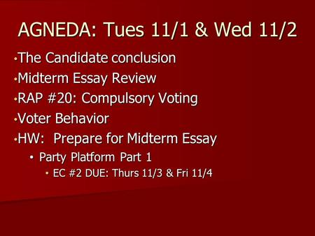 The Candidate conclusion The Candidate conclusion Midterm Essay Review Midterm Essay Review RAP #20: Compulsory Voting RAP #20: Compulsory Voting Voter.