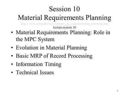 Session 10 Material Requirements Planning  pom