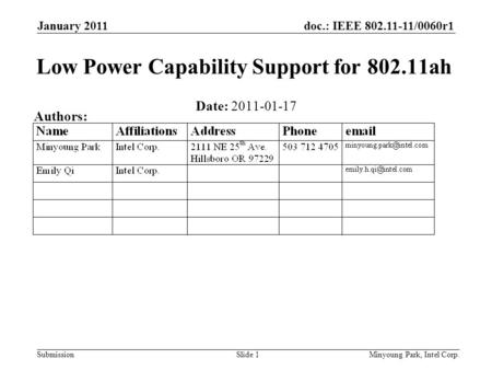 Doc.: IEEE 802.11-11/0060r1 Submission January 2011 Minyoung Park, Intel Corp.Slide 1 Low Power Capability Support for 802.11ah Date: 2011-01-17 Authors: