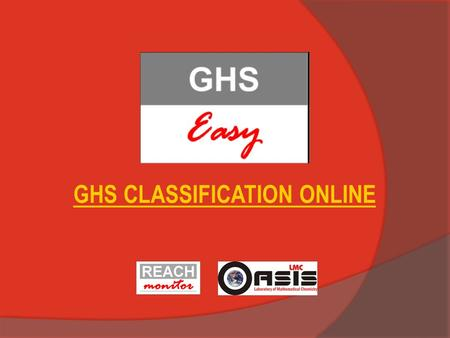 "GHS CLASSIFICATION ONLINE. Registration: Click on ""Register"""