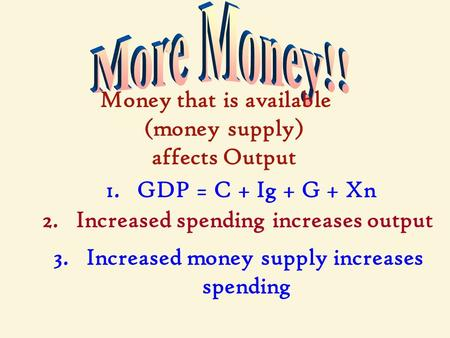 Money that is available (money supply) affects Output 1. GDP = C + Ig + G + Xn 2. Increased spending increases output 3. Increased money supply increases.