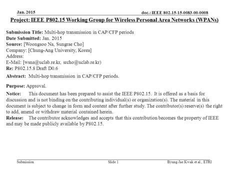 Doc.: IEEE 802.15-15-0083-00-0008 Submission Jan. 2015 Byung-Jae Kwak et al., ETRISlide 1 Project: IEEE P802.15 Working Group for Wireless Personal Area.