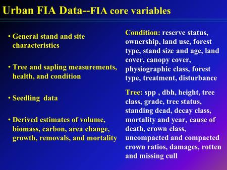 Urban FIA Data-- FIA core variables General stand and site characteristics Tree and sapling measurements, health, and condition Seedling data Derived estimates.