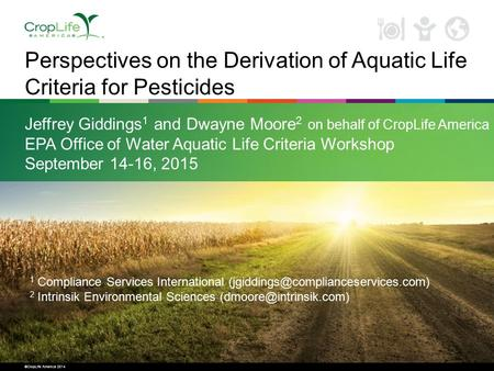 ©CropLife America 2014 Perspectives on the Derivation of Aquatic Life Criteria for Pesticides Jeffrey Giddings 1 and Dwayne Moore 2 on behalf of CropLife.