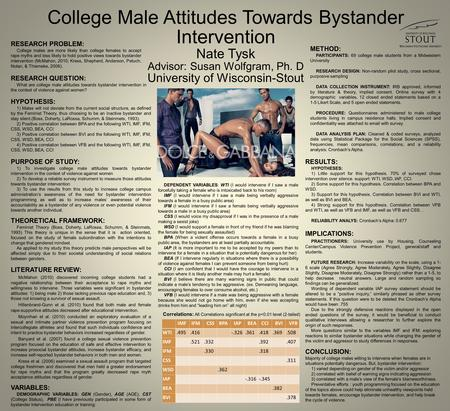 College Male Attitudes Towards Bystander Intervention Nate Tysk Advisor: Susan Wolfgram, Ph. D University of Wisconsin-Stout RESEARCH PROBLEM: College.