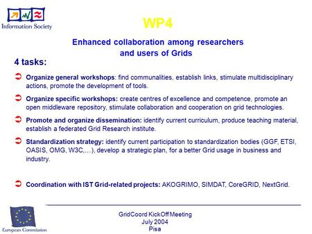 GridCoord KickOff Meeting July 2004 Pisa WP4 Enhanced collaboration among researchers and users of Grids 4 tasks:  Organize general workshops: find communalities,