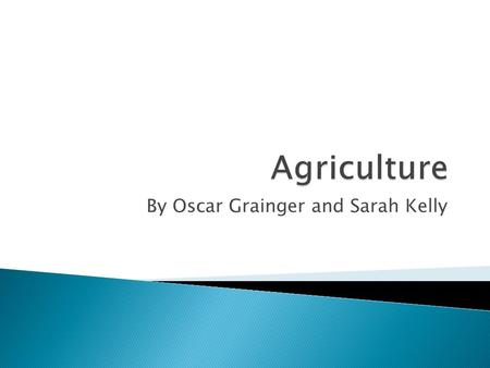 By Oscar Grainger and Sarah Kelly.  Agriculture: the growth of plants or animals in order to produce food for sale at a marketplace  Subsistence Farming: