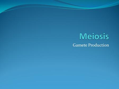 Gamete Production. Meiosis Similar in many ways to mitosis Similar in many ways to mitosis Several differences however Several differences however Involves.