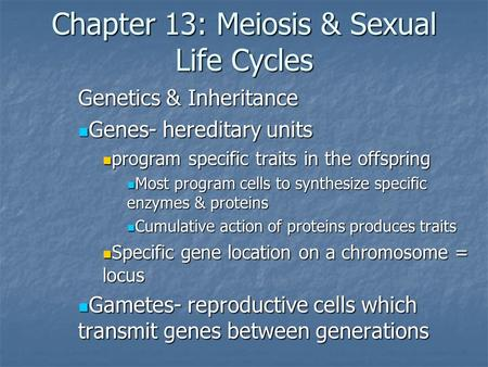 Chapter 13: Meiosis & Sexual Life Cycles Genetics & Inheritance Genes- hereditary units Genes- hereditary units program specific traits in the offspring.