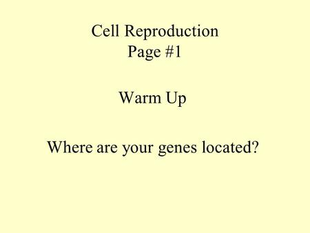 Cell Reproduction Page #1