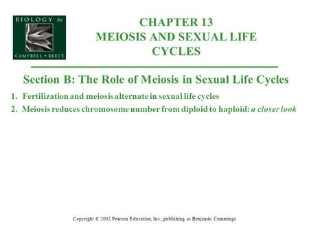 CHAPTER 13 MEIOSIS AND SEXUAL LIFE CYCLES Copyright © 2002 Pearson Education, Inc., publishing as Benjamin Cummings Section B: The Role of Meiosis in Sexual.