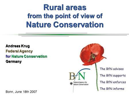 Rural areas from the point of view of Nature Conservation Andreas Krug Federal Agency for Nature Conservation Germany Bonn, June 18th 2007.