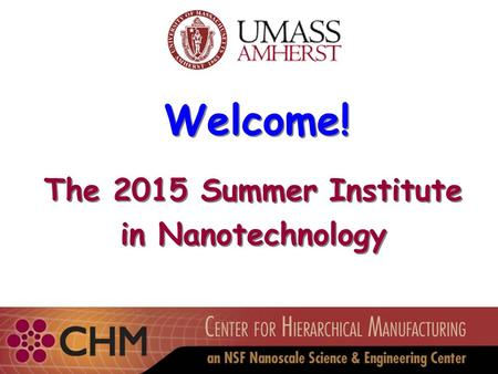Welcome! The 2015 Summer Institute in Nanotechnology The 2015 Summer Institute in Nanotechnology.