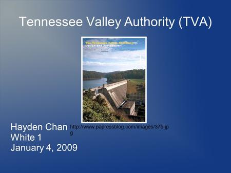 Tennessee Valley Authority (TVA) Hayden Chan White 1 January 4, 2009  g.