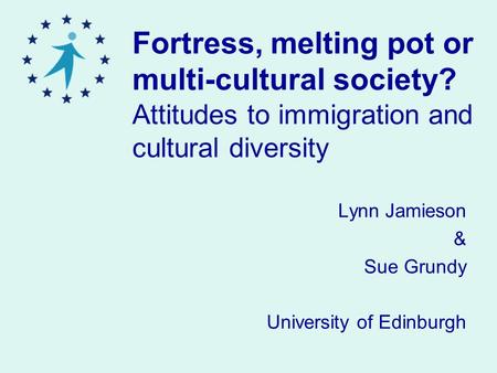 Fortress, melting pot or multi-cultural society? Attitudes to immigration and cultural diversity Lynn Jamieson & Sue Grundy University of Edinburgh.