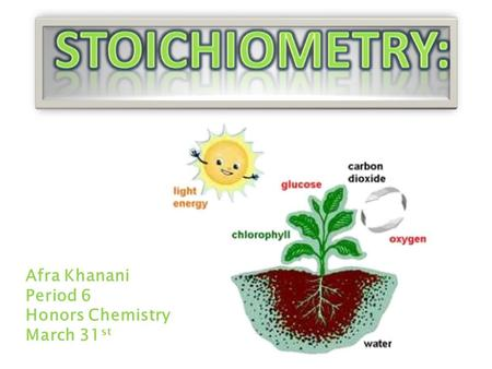 Afra Khanani Period 6 Honors Chemistry March 31 st.