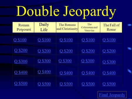 Double Jeopardy Roman Potpourri Daily Life The Romans and Christianity The Colosseum and Vesuvius The Fall of Rome Q $100 Q $200 Q $300 Q $400 Q $500.
