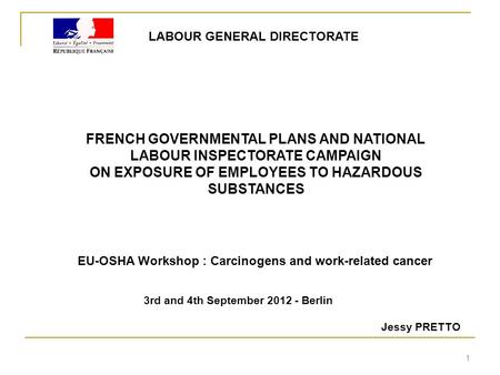 FRENCH GOVERNMENTAL PLANS AND NATIONAL LABOUR INSPECTORATE CAMPAIGN ON EXPOSURE OF EMPLOYEES TO HAZARDOUS SUBSTANCES LABOUR GENERAL DIRECTORATE 3rd and.