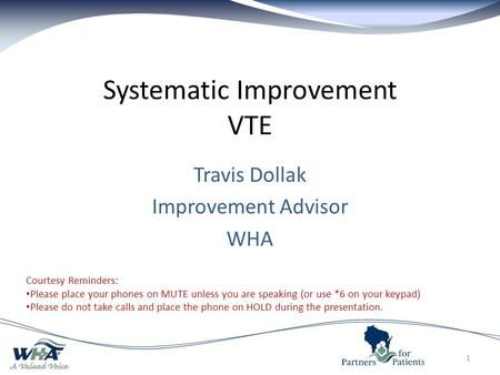 Systematic Improvement VTE 1 Courtesy Reminders: Please place your phones on MUTE unless you are speaking (or use *6 on your keypad) Please do not take.