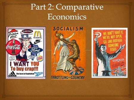   Examining FOUR different kinds of economies and how they answer the 5 Questions of Economics (remember my song)  Examining the Principles of Capitalism.