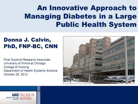 An Innovative Approach to Managing Diabetes in a Large Public Health System Donna J. Calvin, PhD, FNP-BC, CNN Post Doctoral Research Associate University.