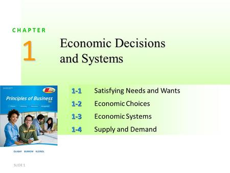 SLIDE 1 1-1 1-1Satisfying Needs and Wants 1-2 1-2Economic Choices 1-3 1-3Economic Systems 1-4 1-4Supply and Demand 1 C H A P T E R Economic Decisions and.