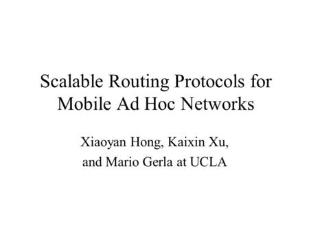 Ad hoc routing protocols ns2