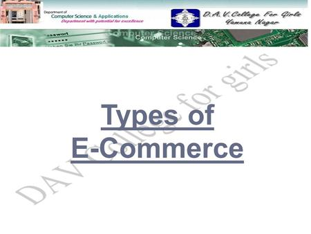 Types of E-Commerce.  Definition of Commerce Definition of Commerce  What is a network What is a network  What is E-commerce What is E-commerce  Types.