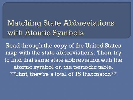 Read through the copy of the United States map with the state abbreviations. Then, try to find that same state abbreviation with the atomic symbol on the.