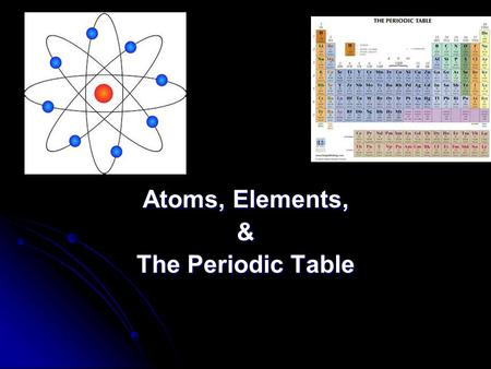 Atoms, Elements, & The Periodic Table. Matter – anything that has mass & volume Matter – anything that has mass & volume Element – a substance composed.