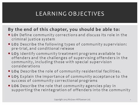 By the end of this chapter, you should be able to:  LO1 Define community corrections and discuss its role in the criminal justice system  LO2 Describe.