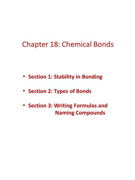 Chapter 18: Chemical Bonds