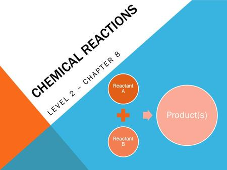 CHEMICAL REACTIONS LEVEL 2 – CHAPTER 8 Reactant A Reactant B Product(s)