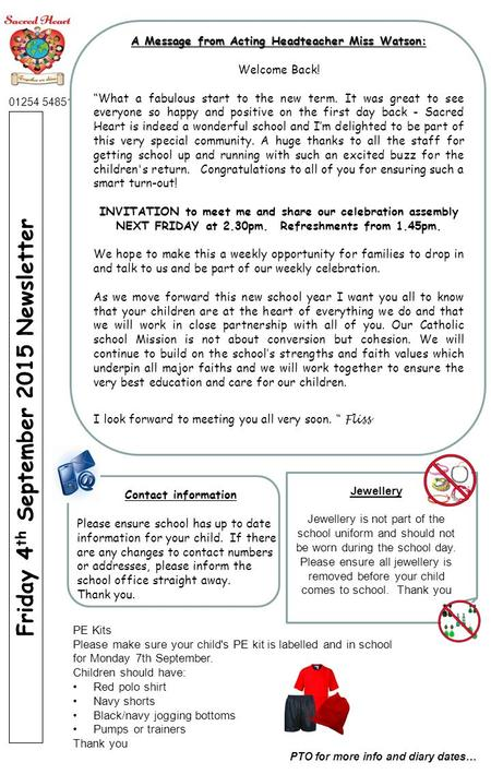 Roe Lee Park School Newsletter July 2007 Friday 4 th September 2015 Newsletter PTO for more info and diary dates… 01254 54851 A Message from Acting Headteacher.