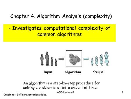 Algorithm Input Output An algorithm is a step-by-step procedure for solving a problem in a finite amount of time. Chapter 4. Algorithm Analysis (complexity)