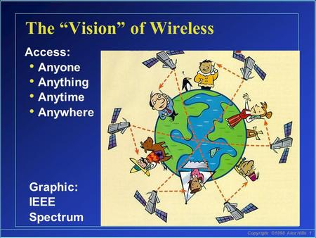 "Copyright ©1998 Alex Hills 1 The ""Vision"" of Wireless Access: Anyone Anything Anytime Anywhere Graphic: IEEE Spectrum."