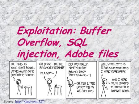 Exploitation: Buffer Overflow, SQL injection, Adobe files Source:
