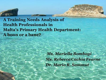 Ms. Mariella Bombagi Ms. Rebecca Cachia Fearne Dr. Mario R. Sammut A Training Needs Analysis of Health Professionals in Malta's Primary Health Department:
