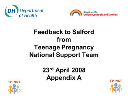 Feedback to Salford from Teenage Pregnancy National Support Team 23 rd April 2008 Appendix A.