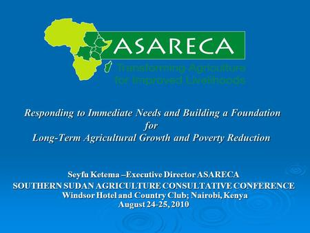 Responding to Immediate Needs and Building a Foundation for Long-Term Agricultural Growth and Poverty Reduction Responding to Immediate Needs and Building.