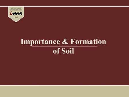 Importance & Formation of Soil. Importance of Soil Much of the United States ' success is due to the productive capacity of the soil – U. S. produces.