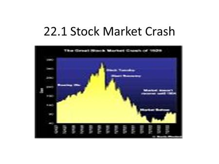 22.1 Stock Market Crash. The Market Crashes Early 1928 Dow Jones climbed to 191. By Sept. 3, 1929 it reached all time high of 381. Prices for stocks soared.