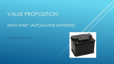 VALUE PROPOSITION INSTA-START (AUTOMOTIVE BATTERIES) Jonathan Pierangeli.