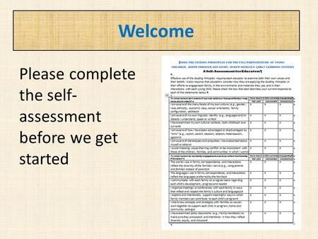 Welcome Please complete the self- assessment before we get started.