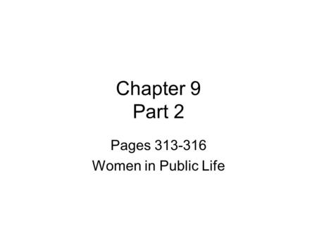 Pages Women in Public Life
