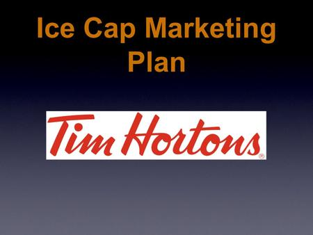 Ice Cap Marketing Plan. Marketing Concept Serving Ice Cap faster - Production change Making Ice Cap affordable - Price Cut.