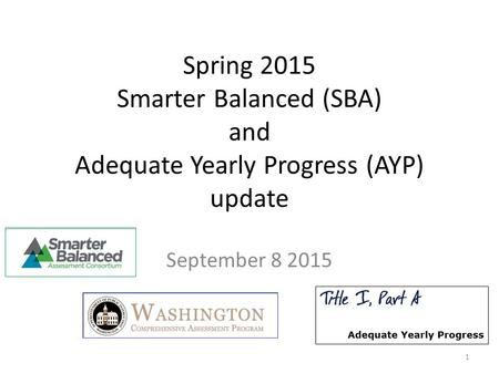 Spring 2015 Smarter Balanced (SBA) and Adequate Yearly Progress (AYP) update September 8 2015 1.