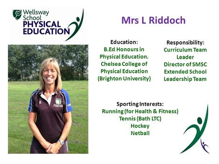 Mrs L Riddoch Education: B.Ed Honours in Physical Education. Chelsea College <strong>of</strong> Physical Education (Brighton University) Responsibility: Curriculum Team.