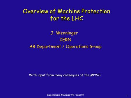 Overview of Machine Protection for the LHC